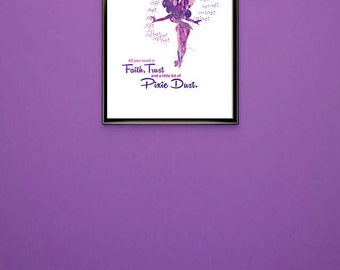 Disneys Tinkerbell Pink Purple Splattered Silhouette With Quote All