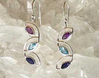 Amethyst Blue Topaz Iolite Earrings   Amethyst Earrings   Blue Topaz Earrings    Iolite Earrings   Bridal Earrings   Bridal Jewelry