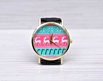 Christmas gift. Stocking stuffer. Christmas watch. Gift for women. Gift for men. Deer watch. Ladies watch. Unique gift. Gift for her