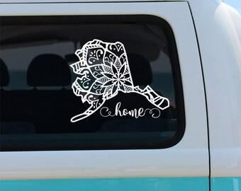 Alaska State Mandala Vinyl Decal Sticker - Car Sticker - Mandala Decal - Alaska Decal - State Car Decal - Mandala - Alaska Mandala