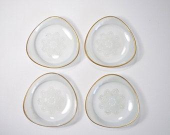 4 small HEYE-GLAS FILIGRAN German dishes of glass