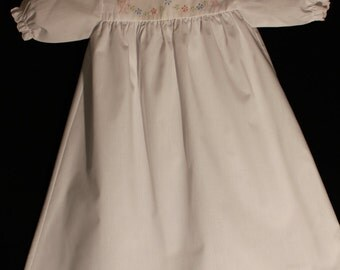 Auraluz Hand Embroidered Day Gown with scalloped edging on collar and sleeves, includes hat