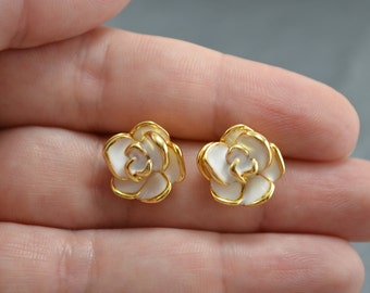 Vintage Style Gold Enamel Rose Earrings - Gold Dipped Flower Stud Earrings