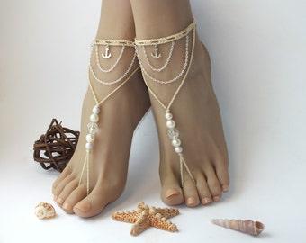 Anchor barefoot sandals,beach wedding barefoot sandals,beaded barefoot sandals,anchor anklet