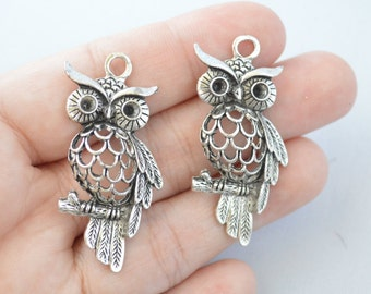 2 Pcs Large Owl Charms Antique Silver Tone 2 Sided 21x45mm- YD0947