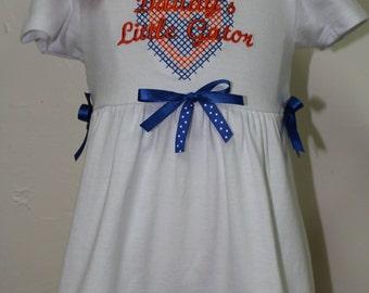 Florida Gator Girl Dress, Florida Gator Toddler dress, Daddy's little Gator dress, UF Gator T shirt Dress, University of Florida baby dress