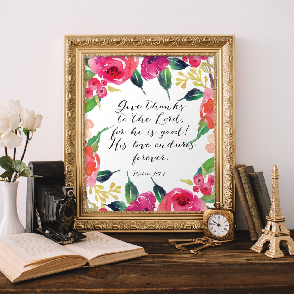 Christian Wall Art Give Thanks To The Lord For He Is Good