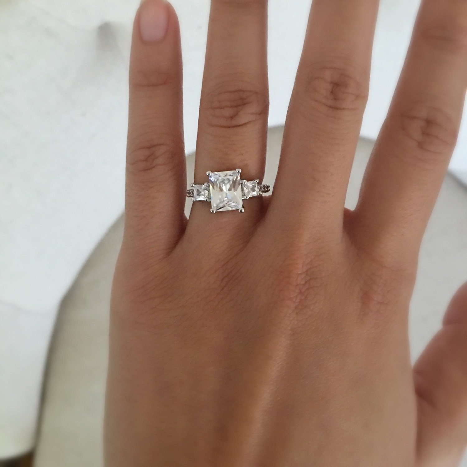 Emerald cut rectangle engagement ring wedding ring promise