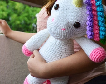 CROCHET PATTERN in English - Mimi the Friendly Unicorn - 16 in./40 cm. tall - Animal Amigurumi - Nursery Kids Toy - Instant PDF Download