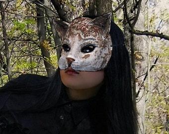 Cat  mask Paper mache Cat mask Animal mask Masquerade Cat  mask Papier mache  Cat Mask