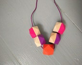 Geometric Necklace - Bright Pink, Orange and Purple | Statement Necklace | Hand Painted | Wood Faceted Hexagon Cubes Beads | Gift for her