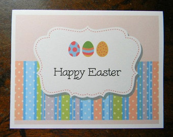 Easter Greeting Card, Happy Easter Egg Stripe Greeting Card, Easter Greeting Card, Handmade Greeting Cards