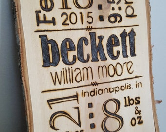 Baby Birth Announcement // Wood Plaque // Pyrography // Baby Stats // Newborn // Wall Art // Custom // Personalized