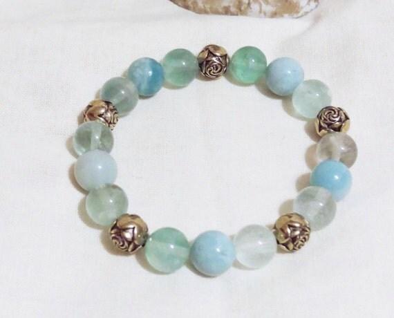 Natural Amazonite & Fluorite Gemstone w/Rose Antique Brass 3-D Beads Beaded Stretch Bracelet, Gift For Her, Boho, Boho Chic, Beaded Bracelet