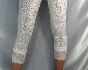 White shiny sequin capri leggings Lace top cuffs