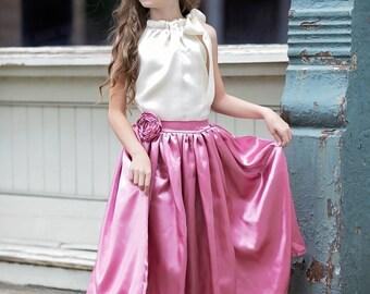 2 Pcs Rose Pink Satin Skirt Set, Flower Girl Skirt, Girls Rose Pink Satin Outfit, Girl's Skirt