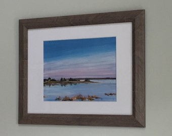 Charleston SC marsh print of an original acrylic painting, Lowcountry landscape painting. Marsh at sunset painting.