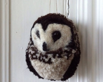 Wool Owl Needle Felted Sculpture / Ornament