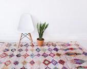 """RESERVED FOR SAM // Vintage Moroccan Boucherouite Rug, """"The Hayden,"""" Rag Rug, Berber Rug, Pink Rug, Geometric Rug, Bohemian Decor, Boho Rug"""