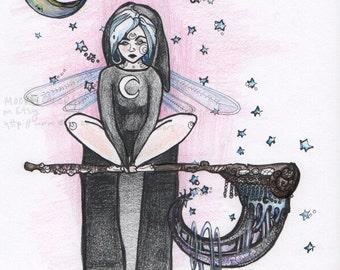 "Fantasy Art Print,  ""Scythe Rester,"" Home Decor, Gift, fairy, lunar, dreamy, pink, blue, black"