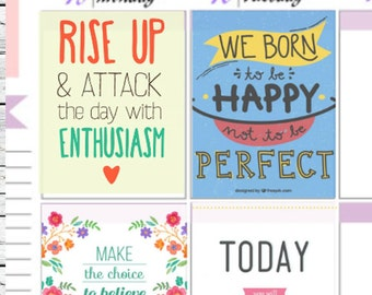 8 Inspirational Quotes Set 2 Full Boxes Stickers To Use With Erin Condren Planner