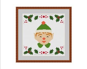 Dwarf cross stitch, Gnome cross stitch, Elf cross stitch, Christmas gnome, Christmas cross stitch, Winter cross stitch, Easy cross stitch