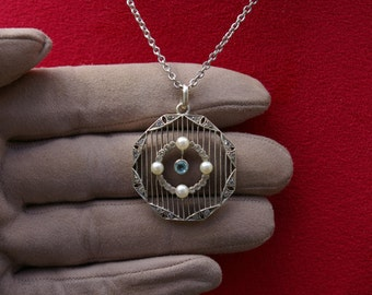 Necklace : pendant + chain, octagonal silver pendant set with strass and pearls, art deco, 30s, France, free shipping
