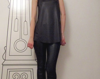 Black Sleeveless Tank Top / Asymmetrical Sleeveless Top / Minimalist Clothing by FabraModaStudio/FAB130