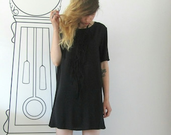 Basic Oversized Black Tee / Oversized Tee Dress / Minimalist Clothing by FabraModaStudio / D114