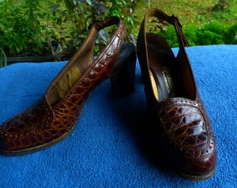 Vintage alligator slingback ladies shoes, size 6