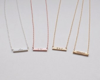 Bar Necklace, Personalized Engraved Name Plate Necklace, Small Skinny Bar Necklace #D3.17