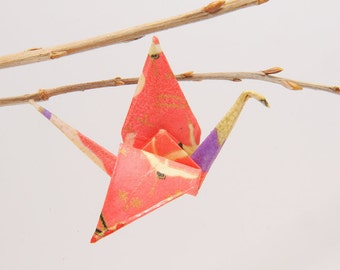 "Origami ""Winged pink crane of sakura""-brooch"