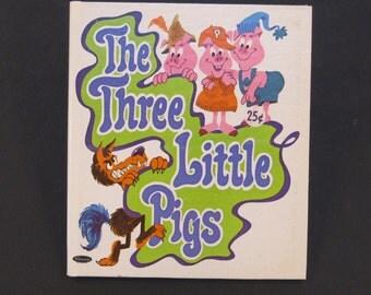 The THREE LITTLE PIGS Whitman Tell a Tale book Charles Bracke 1969  hardback New!!!