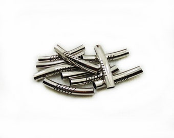 Tube Beads, Curved Tube Beads, Spacer Beads, Cylinder Bars, 8pcs Metal Tube Beads, Jewelry Making,
