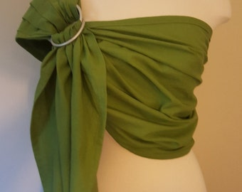 Green ring sling, wrap carrier, baby wearing, baby carrier, 'maya' style sling, shower gift, boy girl