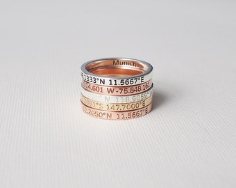 Coordinates Ring / Personalized Latitude Longitude Ring / Personalized Stacking Band / Location Ring / Bridesmaid Gift - CR05