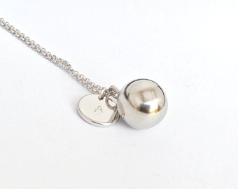Harmony ball necklace, sterling silver hamony ball, musical chime ball, pregnancy ball, bola charm, angel harmony, angel caller, mother