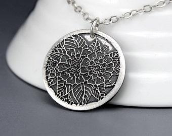 Silver Pendant Necklace - Handmade Rustic Jewelry - Henna Tattoo - Henna Flower Necklace - Boho Necklace - Sterling Silver Flower Necklace