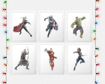 AVENGERS SET, Avengers Print Set, Iron Man, Hulk, Hawkeye, Black Widow, Captain America, Thor, Watercolor, Digital Prints