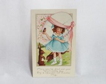 1922 Easter Postcard - Girl Bunny Rabbits - Giant Broken Egg Hat Bonnet - Vintage Post Card - Used Stamped - Vintage 1920s