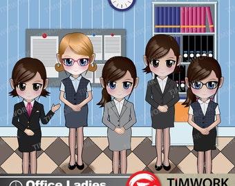 Office Ladies Clipart Set#01! Office Ladies manga illustration! Office Ladies Chibi Figure!