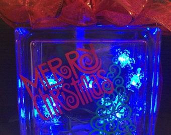 Merry Christmas Lit Up Glass Block