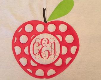 Back to school apple monogram shirt - Apple monogram shirt - Girls back to school monogram shirt - Girls apple monogram shirt