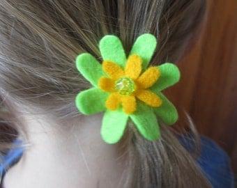 Flower hair bobble for children - 3cm ponytail elastic with green and yellow felt flower