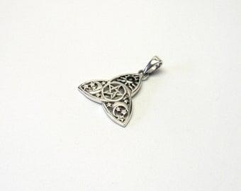 Celtic Moon Sun 925 Silver pentacle Onyx pendant