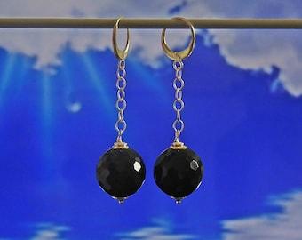 Silver agate earrings, agate earrings, black agate, earrings, ball earrings, black earrings, long earrings, dangle earrings, silver, black