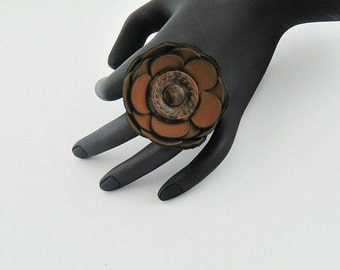 Button leather ring, button ring, leather ring, leather silver ring, button jewelry, leather jewelry, flower ring, leather flowers, brown