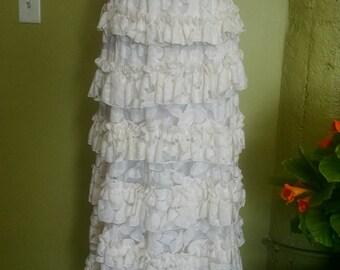 White dress, full length, silk lining
