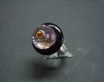 Black Onyx and Sapphire Amethyst ring Orange