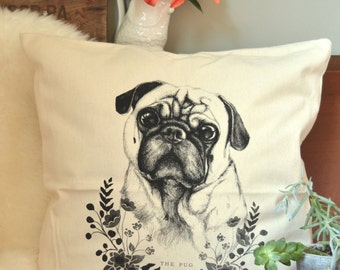 The Pug Screen Printed Pillow